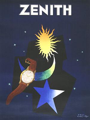 Original Vintage Watch Poster Zenith by Paul Colin c1950 Art Deco Men's Fashion