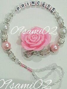 ❤Bling Rose Shamballa & Crystal Romany Dummy Clip Personalised White/pink!❤❤