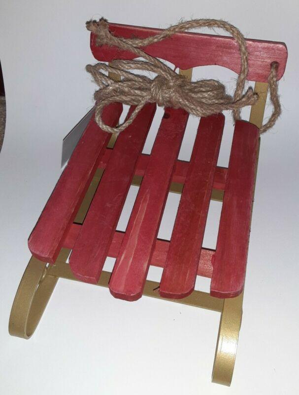 Starbucks Red Wood & Metal Tabletop Sled Sleigh Decor Decorative DIY Gift Set