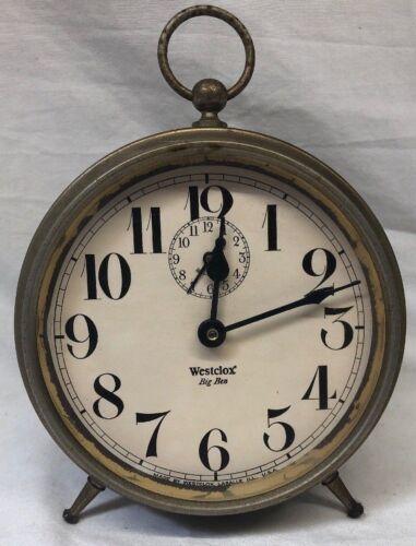 "6"" Vintage Western Clock Westclox Big Ben Alarm Clock Patented Peg Leg 1910"