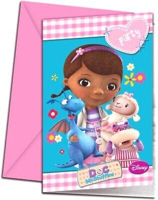 Kindergeburtstag Disney Doc McStuffins Spielzeugärztin Einladungskarten 6 Stück ()