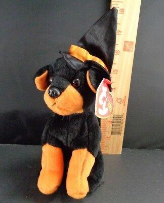 Halloween Ty Black Alacazam Dog Orange Hat Plush Stuffed Animal Toy Doll 8