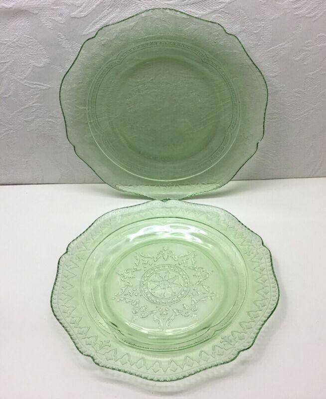 "2 FEDERAL ""PATRICIAN SPOKE"" SALAD PLATES - Green, 7.5 Inch, Depression Glass"