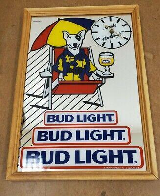 SPUDS MACKENZIE BUDWEISER BUD LIGHT MIRROR WITH CLOCK BEER SIGN