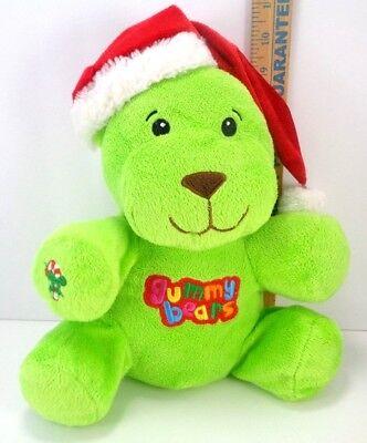 Plush Stuffed Gummy Bears Christmas Bright Green Santa Hat Candy Cane Dan Dee - Green Gummy Bears