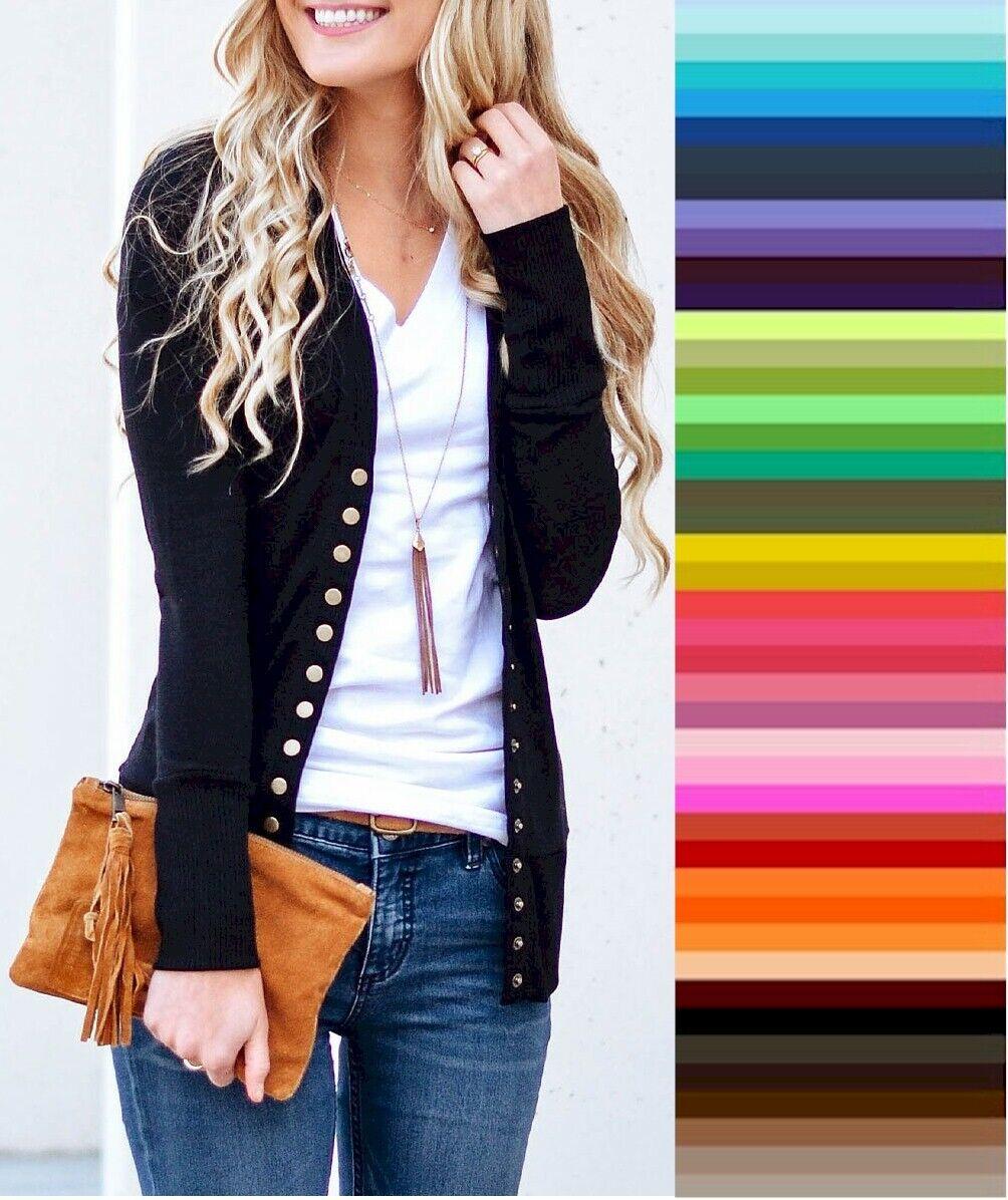 Zenana V Neck Cardigan Snap Front Stretch Long Sleeve Sweater S M L XL *USA*