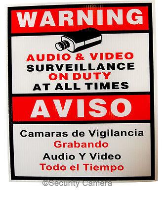 """5 x Security Camera CCTV Warning Sign English Spanish 9x11"""""""