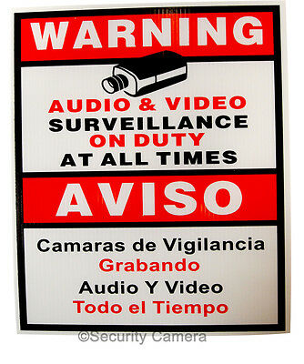 5 x Security Camera CCTV Warning Sign English Spanish 9x11""
