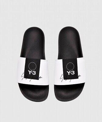 Mens Y-3 Adilette White/Black Slides (SF1) RRP £98.99