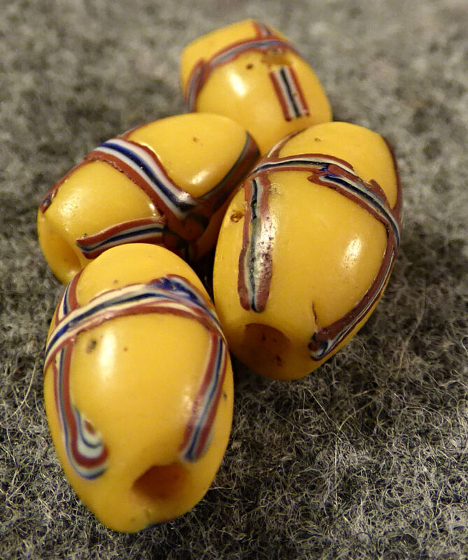(4) Original French Cross Glass Indian Trade Beads Yellow Fur Trade 1700