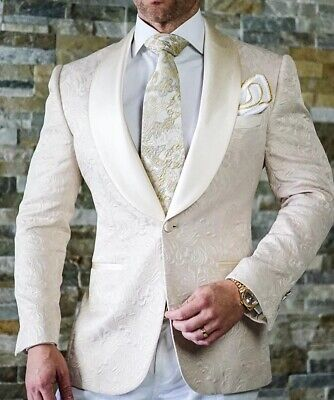 Men's Formal Shawl Lapel Tuxedos One Button Groom Wedding Party Suits 6Colors