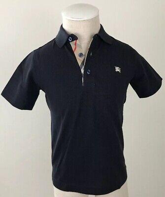 Burberry Children Boys Polo T-Shirt Nova Check Placket Trim Navy Blue Size 8Y