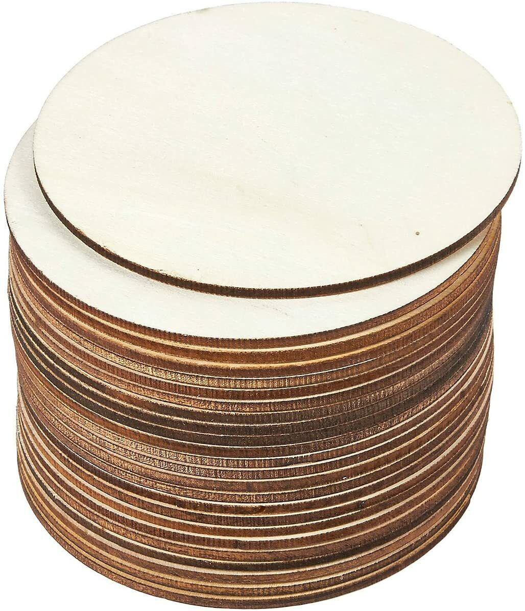 25 Wooden Plain Round Craft Circles 6mm Plywood Unfinished Cutout wood coins Crafting Pieces