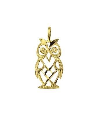 14K Solid Real Yellow Gold Small Light Owl Charm Pendant 14k Gold Owl Charm