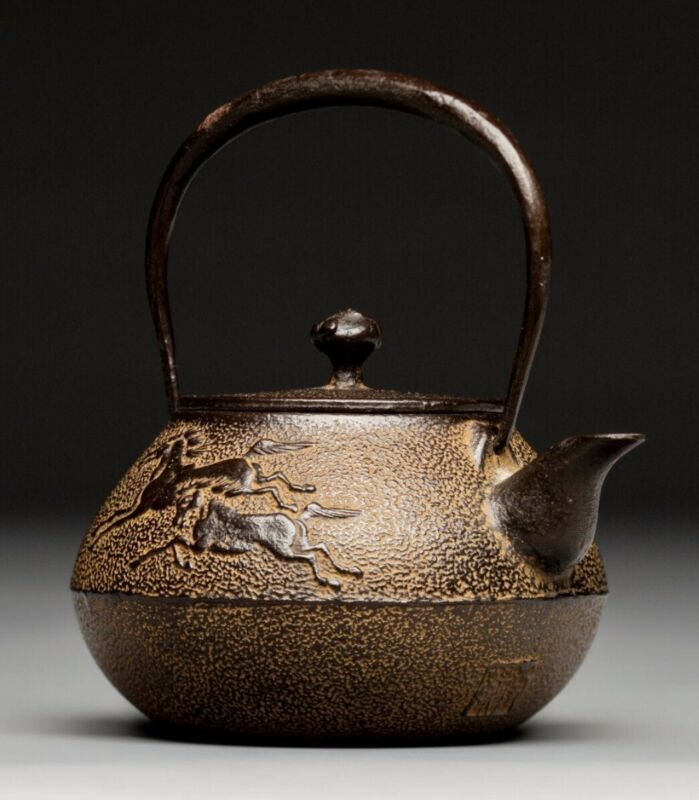 Rare Japanese Antique Cast Iron Tetsubin Kettle Teapot Seal Marked Meiji Era 19C