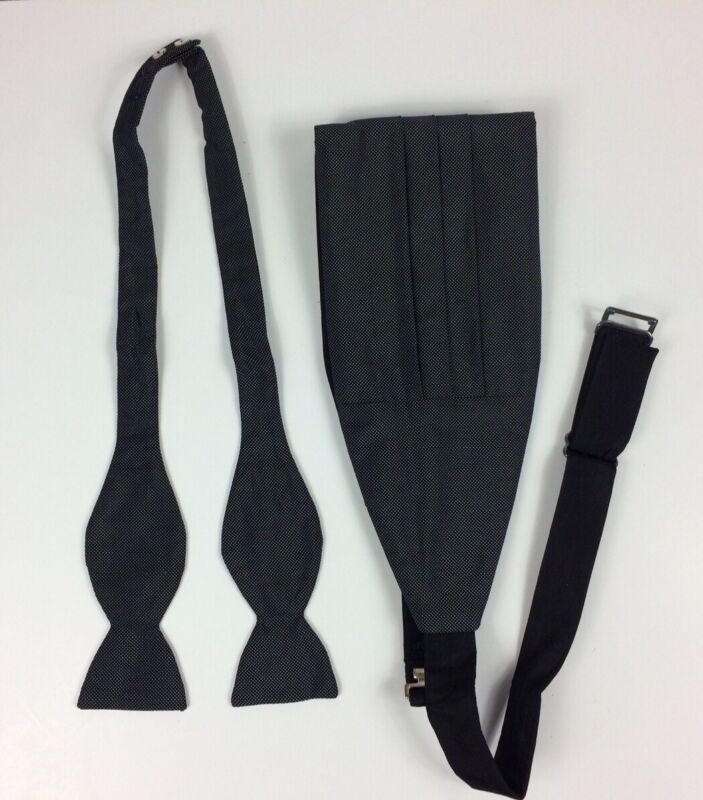 Bergdorf Goodman Collection Bow Tie And Cummerbund Set Silk Grey Black Nail Head