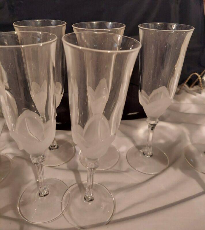 JG DURAND FLORENCE Crystal Champagne Flutes Set of 5