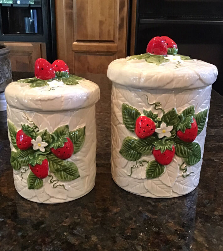 2 Vintage Sears Roebuck and Co 1981 Strawberry Ceramic Smaller Canisters Japan