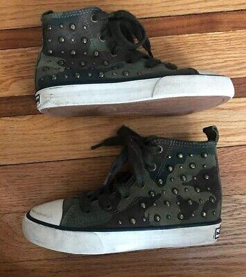Ralph Lauren Girls High-Top Studded Converse Sneakers Size 11.5](Girls Converse High Tops)