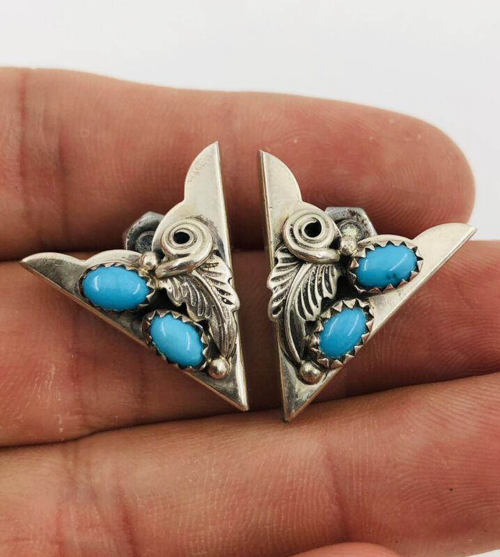 Vintage Southwestern Navajo Sterling Silver & Blue Turquoise Leaf Collar Tips