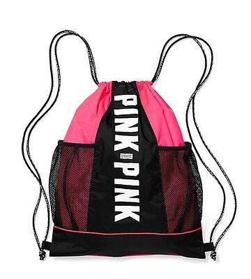 Victoria's Secret Pink HOT PINK Drawstring Backpack Bag Tote Duffle Gym Logo Hot Pink Drawstring Purse
