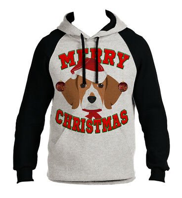 New Men's Merry Christmas Beagle Gray Raglan Hoodie Holiday Xmas Dog Santa B1473 Beagle Dogs Mens Hoodie