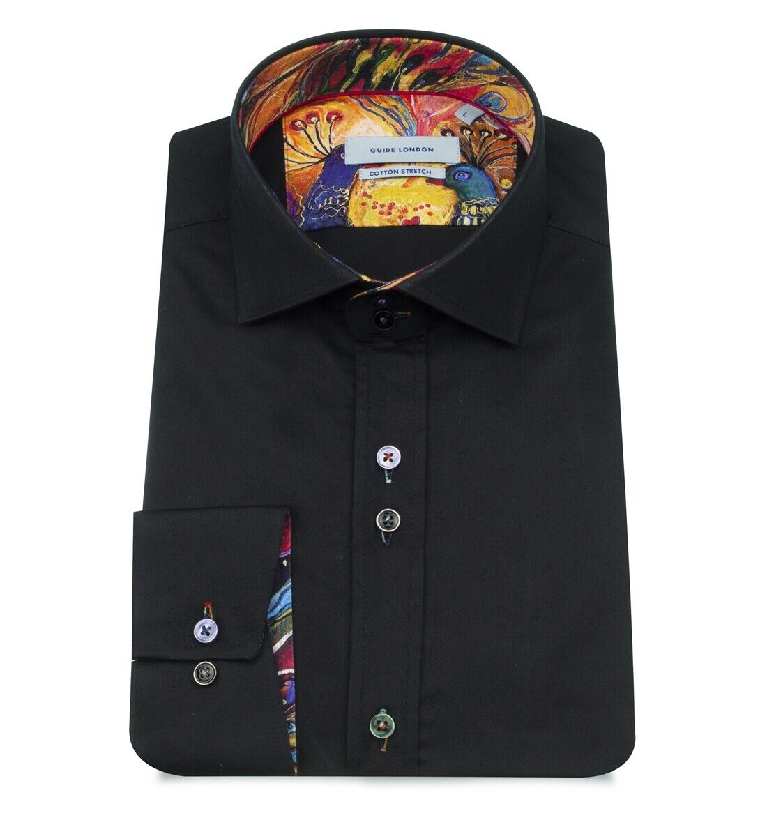 Guide London LS 75307 Black Detailed Shirt With Contrast Cuff & Placket