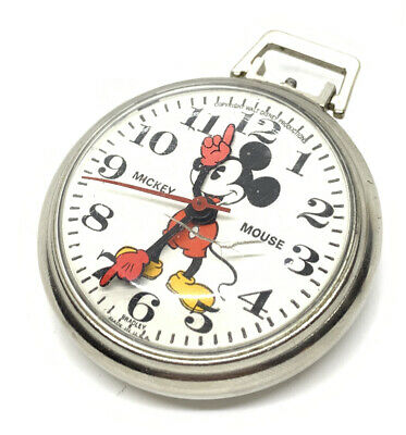 Vintage Mickey Mouse Pocket Watch w/Chain by Bradley--Not Working Condition