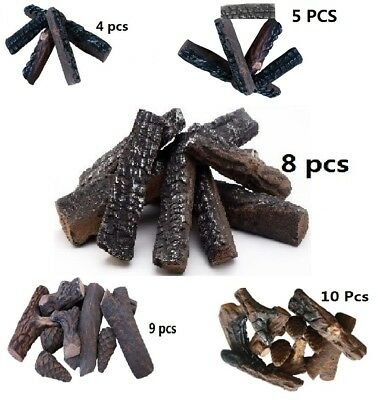 4 5 8 9 10 Pcs Ceramic Decorative Log For Gas Fireplace  Stoves  Firepit