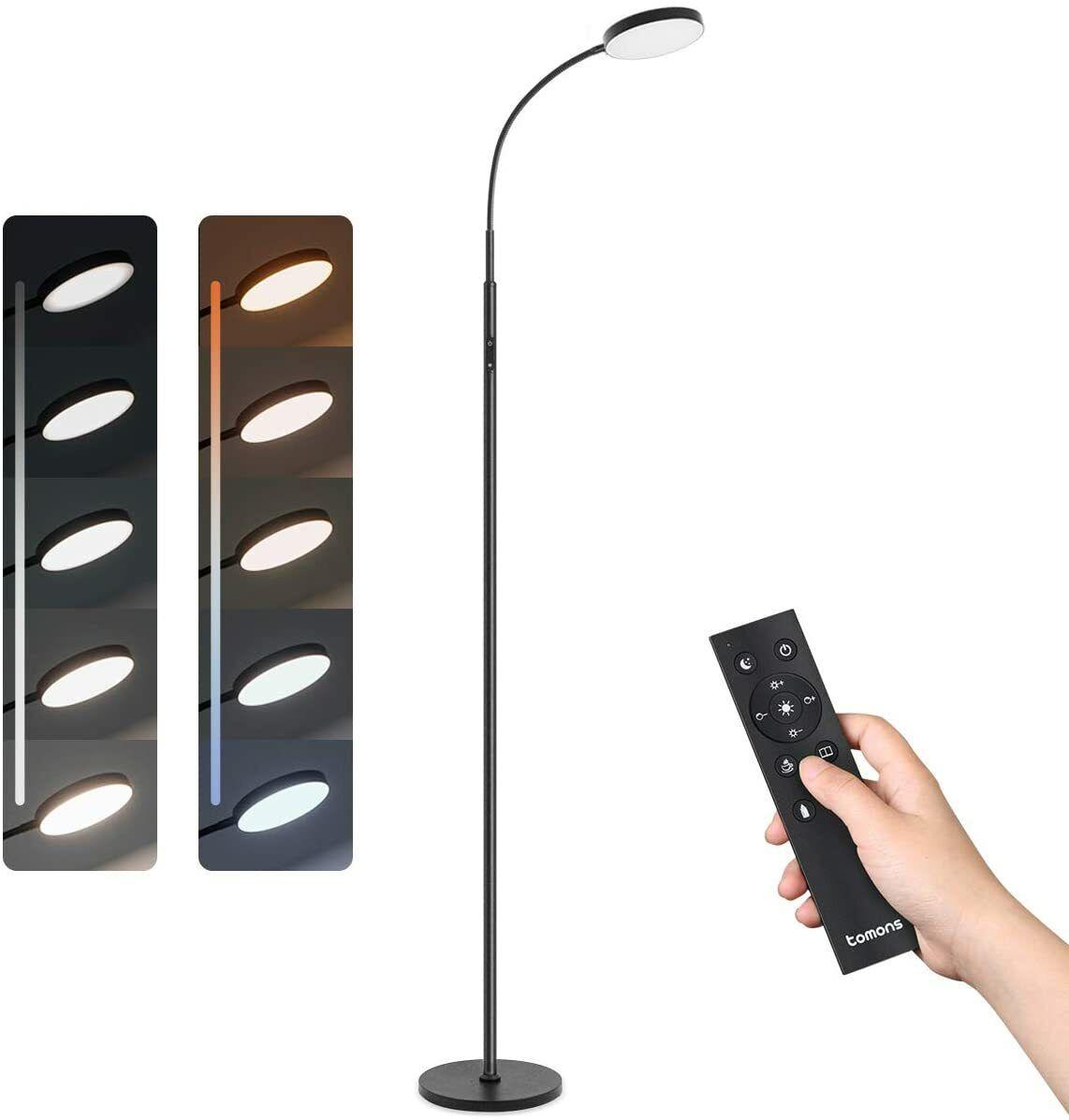 Stehlampe LED Dimmbar Stehleuchte 12W mit Fernbedienung, Stehleuchte Stufenlos