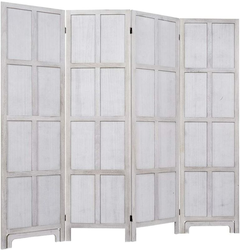 """6 Ft.Tall Room Divider with Stand 19"""" Each Panel Rustic Folding Privacy Screens"""
