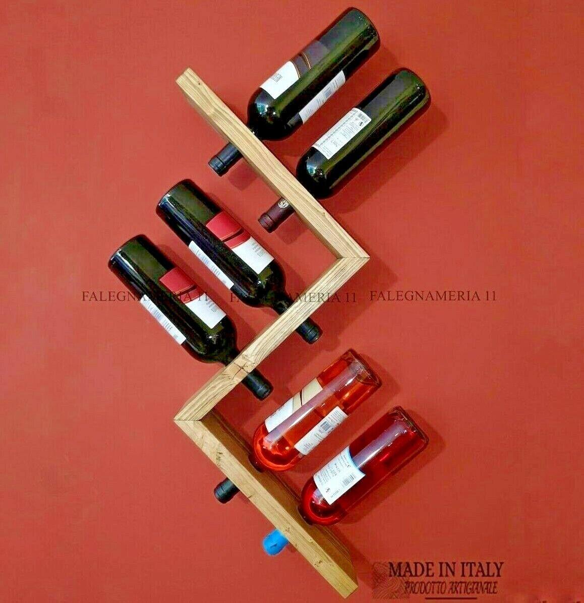 Cantinetta portabottiglie di vino in legno da parete muro porta bottiglie