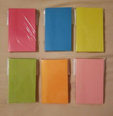 Lot Of 6 Sticky Note Pads 3x5 Assorted Neon 100 Sheetspad