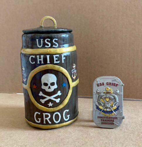 """USS CHIEF Navy Chief 5"""" Grog Barrel Polymer Clay Art + Navy CPO Challenge Coin"""