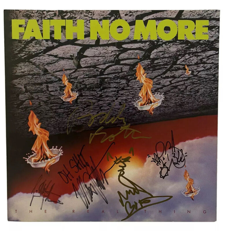VERY RARE 1989 FAITH NO MORE BAND SIGNED THE REAL THING PROMOTIONAL FLAT 80s