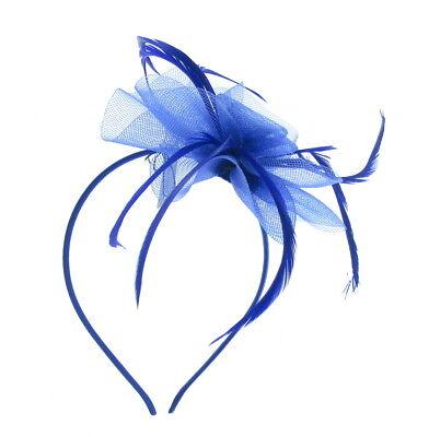 Hatinator Tocado Azul Real Pluma Sombrero Boda Cabeza Banda