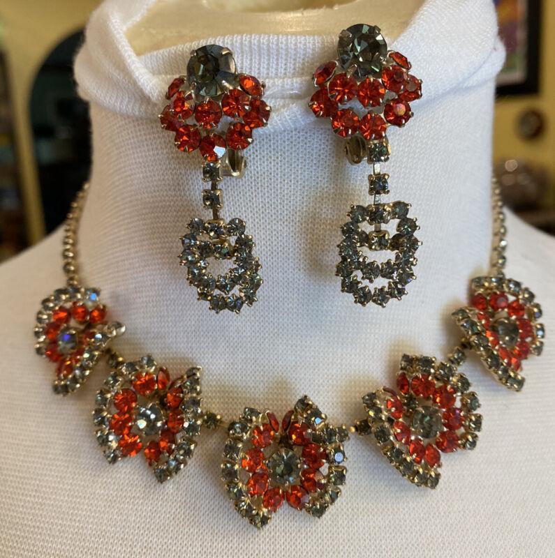 Rare Vintage Gray & Orange Rhinestone Necklace Dangle Clip Earrings Prong Set