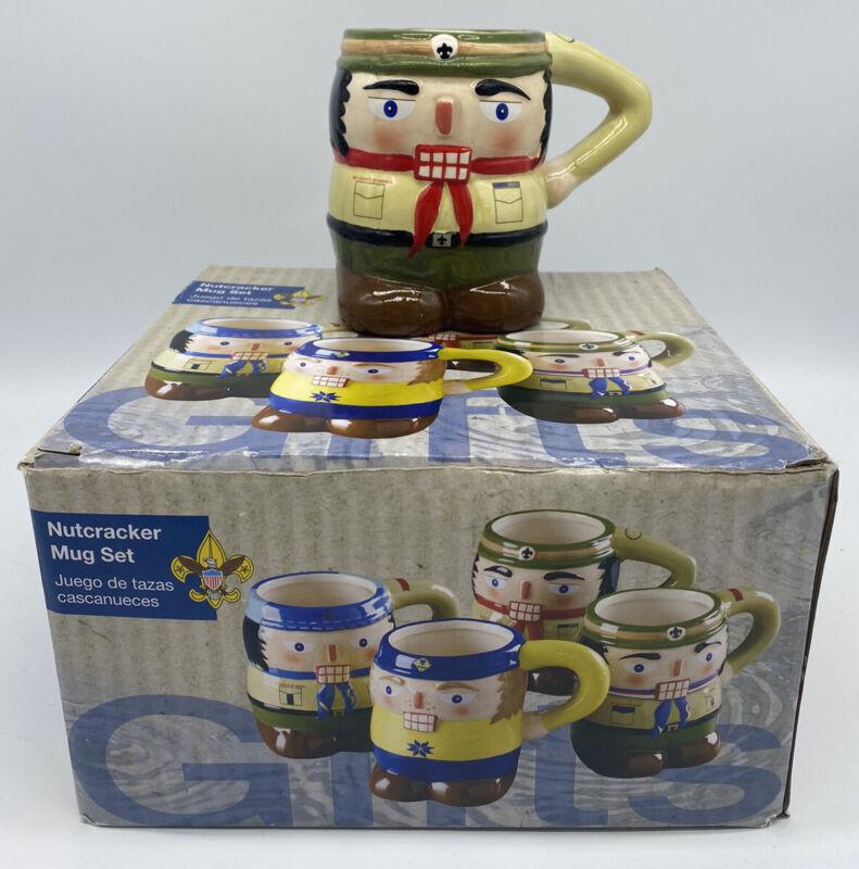 4 Boy Scouts of America NUTCRACKER MUG SET Holiday BSA Cups Christmas Brand New!