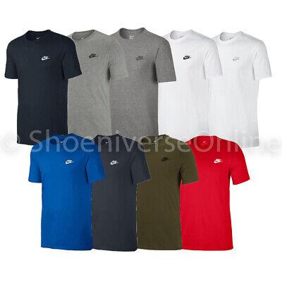 Men's Nike Crew Neck T Shirt 100% Cotton Black Blue Grey White Navy