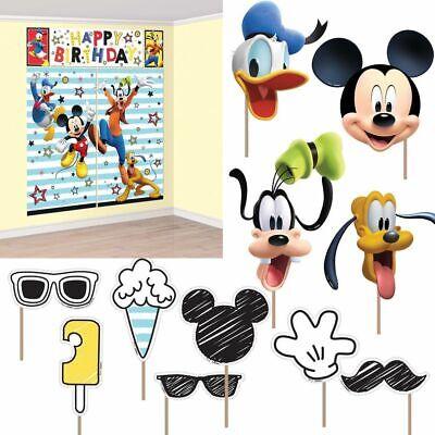 Mickey Scene Setter (Disney Mickey Mouse Scene Setter + 12 Prop Happy Birthday Party Wall Decoration)