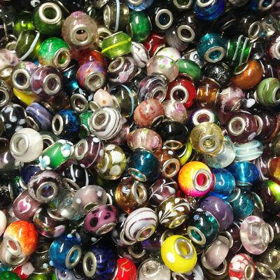 20 verschiedene Modular Glasperlen handmade Metall Loch 5 mm Großlochperlen