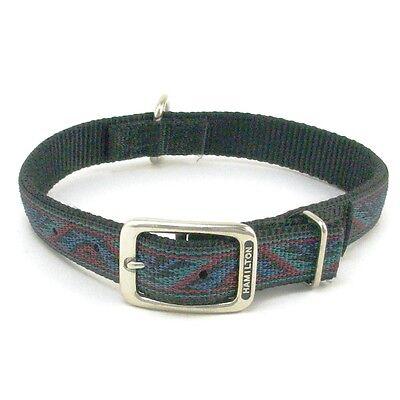 "HAMILTON ST Nylon Dog Collar, 22"" x 1"", Black with Southwest Overlay"