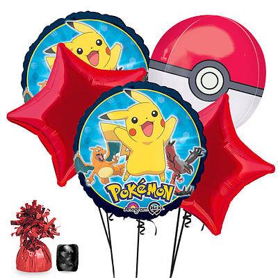 Foil Balloon Weights (Pikachu Pokemon PokeBall Foil Bouquet Balloon 7pc Set w/ Weight + Curling)