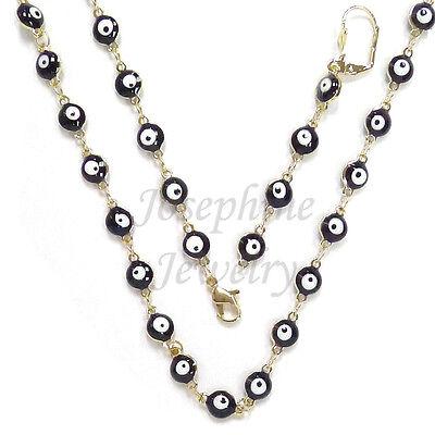 14k Gold Plated Black Lucky Enamel Evil Eye Beads Necklace Bracelet Earring (14k Black Jewelry Set)