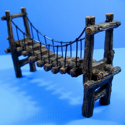 "Drawbridge Bridge Aquarium Ornament Resin Decoration 8"" L For Fish Tank Plants"