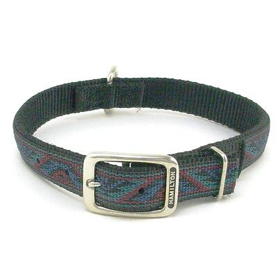 "HAMILTON ST Nylon Dog Collar, 24"" x 1"", Black with Southwest Overlay"