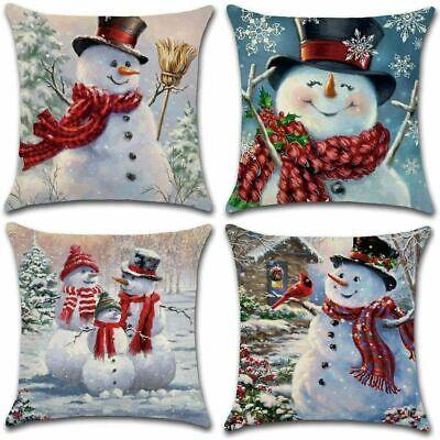 XIECCX Throw Pillow Cover 18 x 18 Inches Set of 4 -Christmas Series Cushion