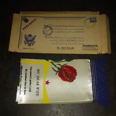"""US Army Sweetheart Satin Pillow/ Box UNUSED 17""""  9th Div Fort Carson Co 1959"""