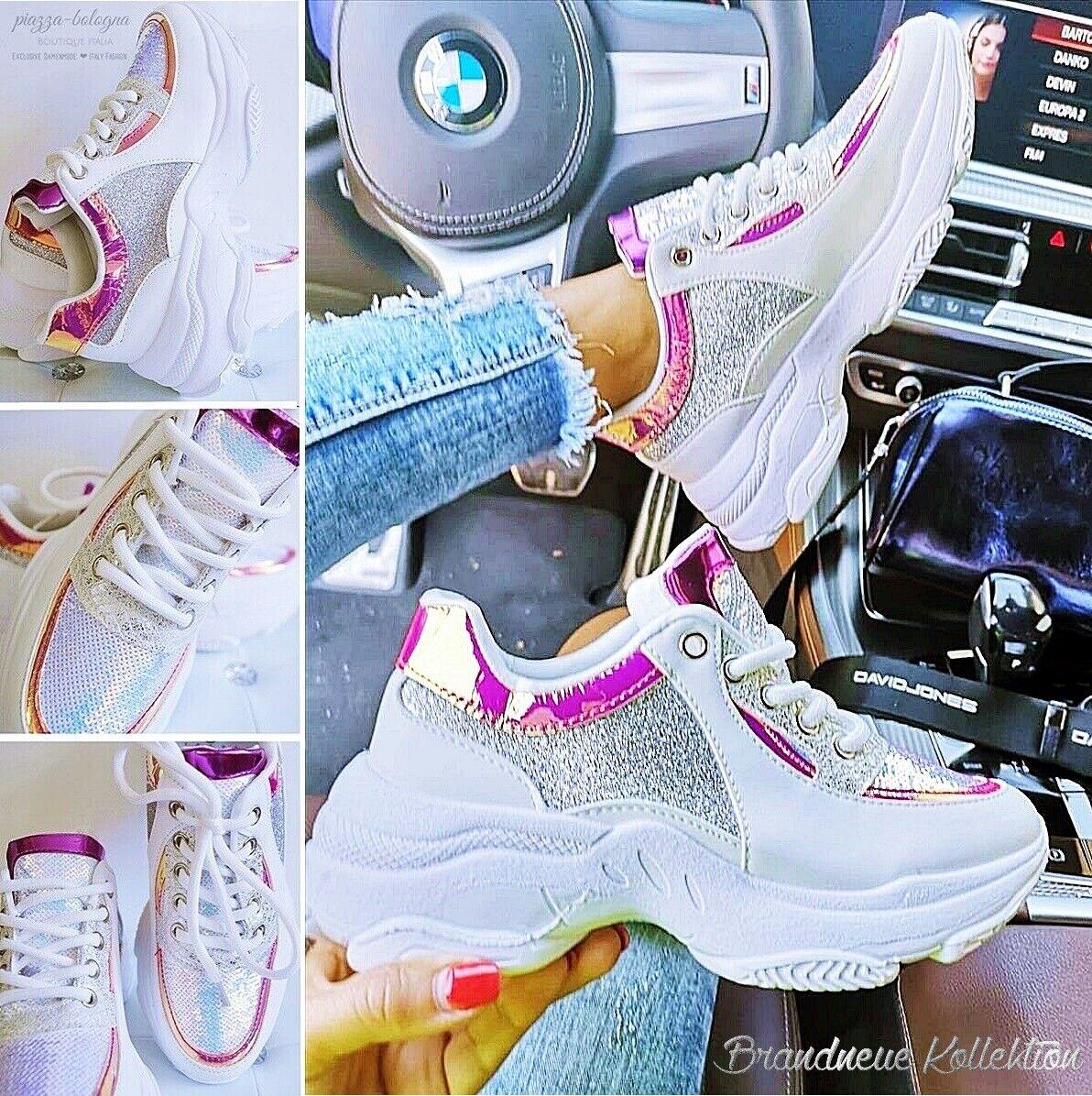 NEU Gr. 41 Damen HOLO Glanz Pailletten AIR Sportschuhe Sneakers GLITZER Silber