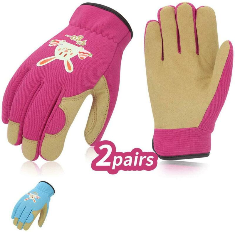 Vgo 2Pairs Age 6-7 Kids Gardening, Lawning, Working Gloves(S